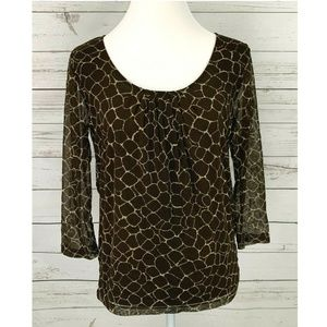 Rafaella Top Scoop Neck 3/4 Sleeve Blouse Brown
